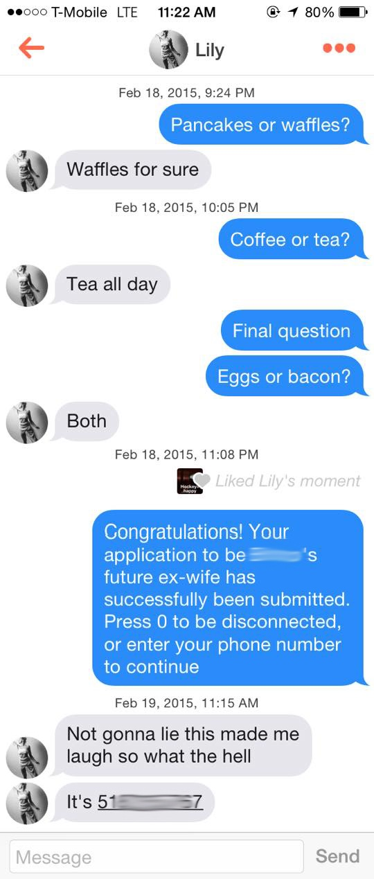 Giving out phone number on tinder