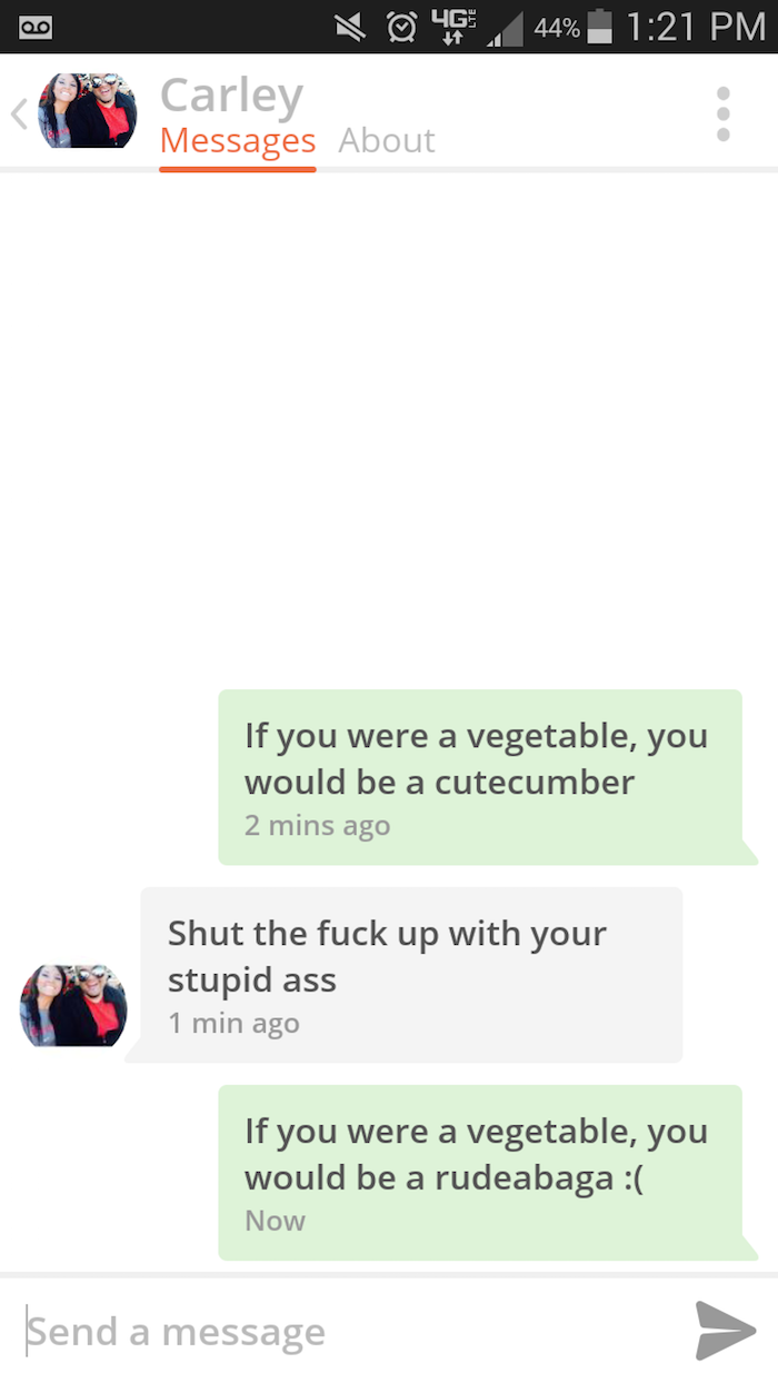 From Cutecumber To Rudeabaga  Laughter    Tinder