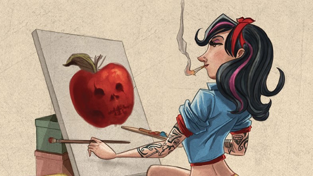Here's Disney Princesses as tattooed pin-up girls, because we all need to grow up sometime ...