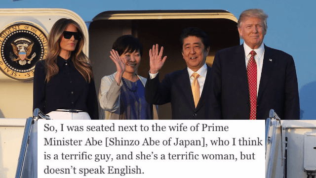 Did the Japanese PM's wife fake not speaking English to avoid Trump?