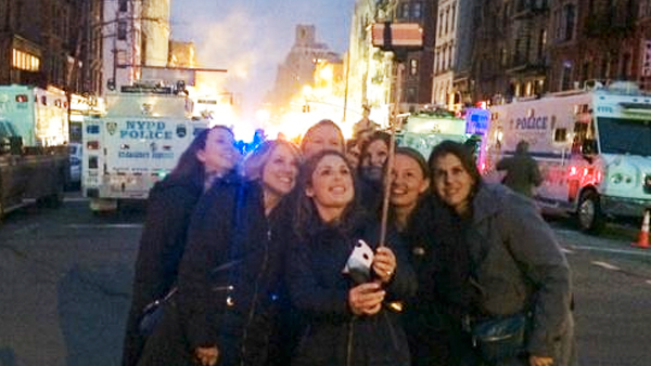 idiots use a selfie stick to snap the perfect shot in front of new york 39 s east village fire. Black Bedroom Furniture Sets. Home Design Ideas