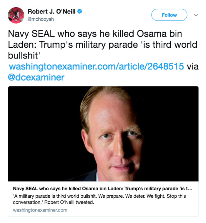 Controversial ex-Navy SEAL rains on Trump's military parade idea