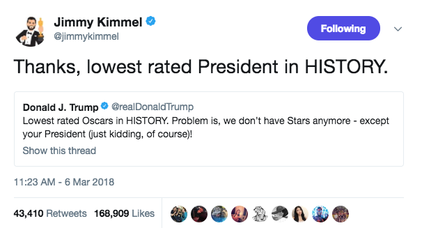Jimmy Kimmel claps back at Trump's Oscars taunt shows us how it's done