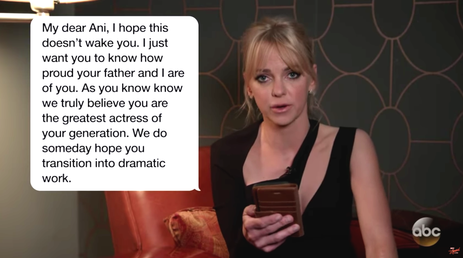 Celebrities read amusing texts from their moms on Jimmy Kimmel Live