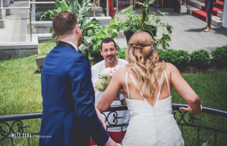 Moustached Adam Sandler photobombs wedding snap