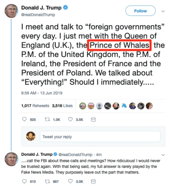 Donald Trump: US President in 'Prince of Whales' Twitter error
