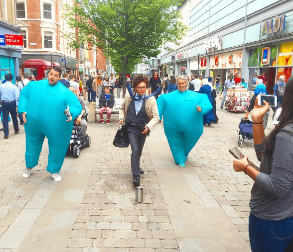 Gym uses blue fat suits to shame people into joining.