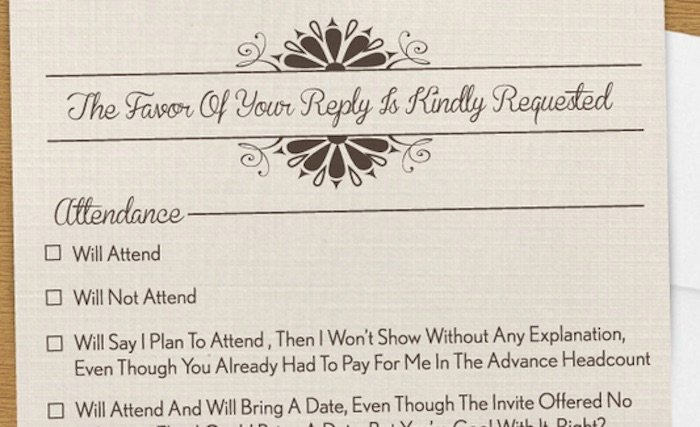 The Most Comprehensively Honest Wedding RSVP In The History Of Marriage | Dating & Relationships ...