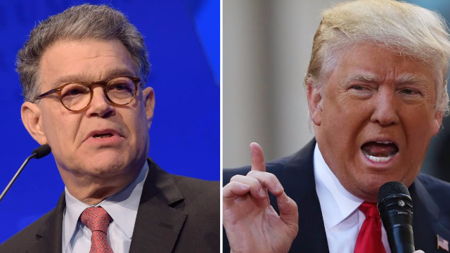 Trump criticizes Al Franken, but remains silent on Roy Moore