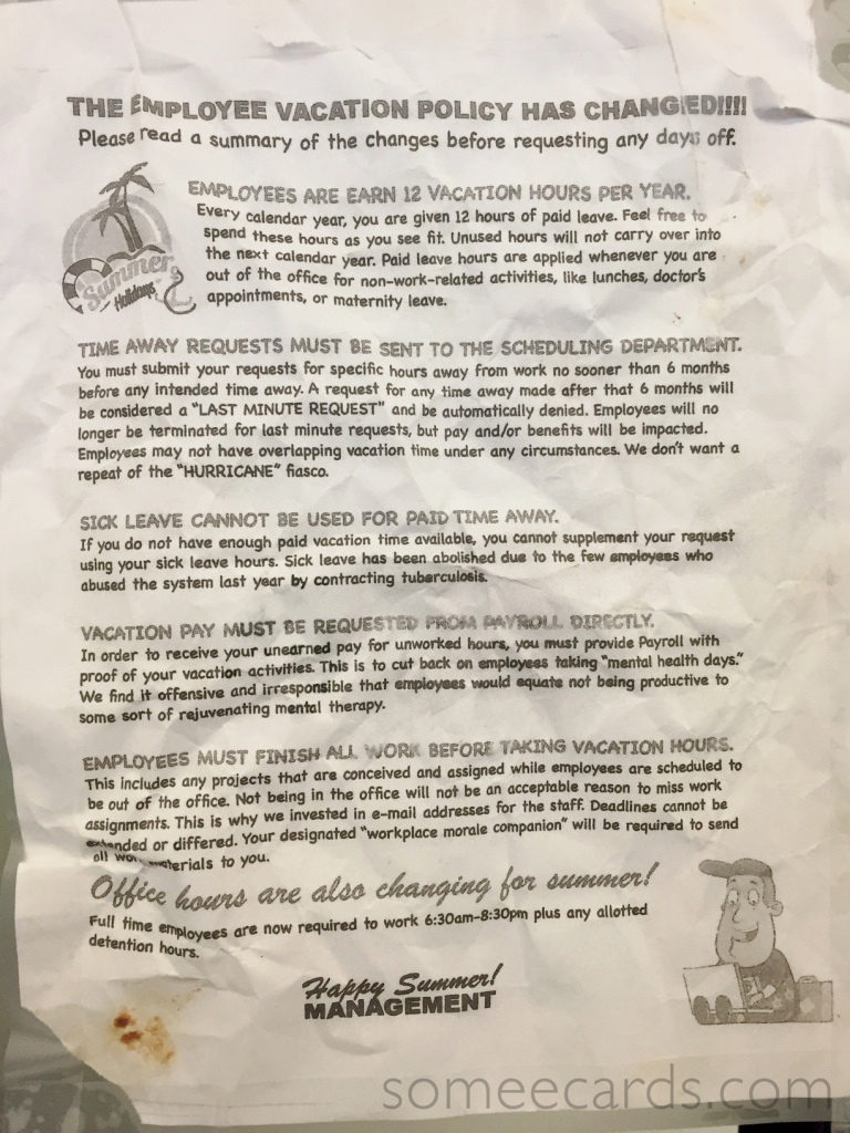 take a look at this company u0026 39 s insane vacation policy memo