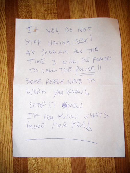 People keep on leaving hilarious notes for their loudly sexing neighbours