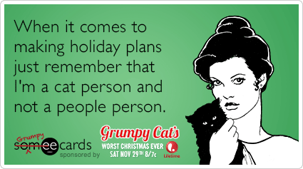 When it comes to making holiday plans just remember that I'm a cat ...: grumpycat.someecards.com/grumpy-cat-cards/cat-person-people-holiday...