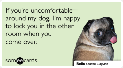 someecards.com - If you're uncomfortable around my dog, I'm happy to lock you in the other room when you come over.