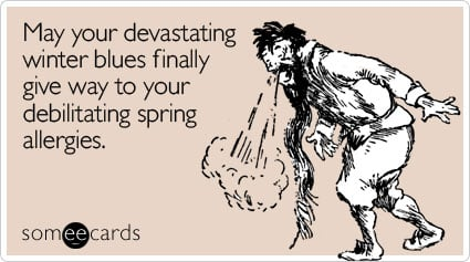 someecards.com - May your devastating winter blues finally give way to your debilitating spring allergies