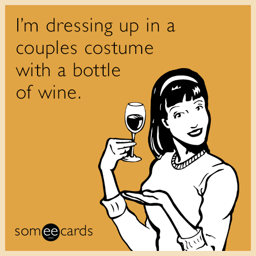 I'm dressing up in a couples costume with a bottle of wine.