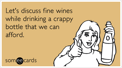 someecards.com - Let's discuss fine wines while drinking a crappy bottle that we can afford.
