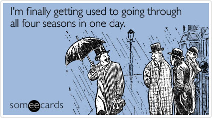 I'm finally getting used to going through all four seasons in one day.