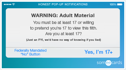 someecards.com - Honest Pop-Up Notifications: Porn warning.