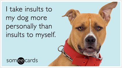 someecards.com - I take insults to my dog more personally than insults to myself.