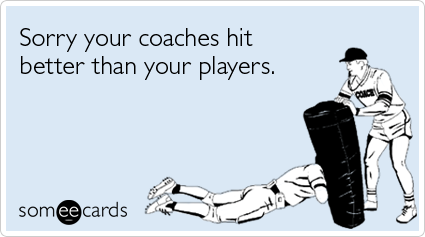Funny Sports Ecard: Sorry your coaches hit better than your players.