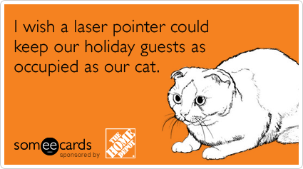 someecards.com - I wish a laser pointer could keep our holiday guests as occupied as our cat.
