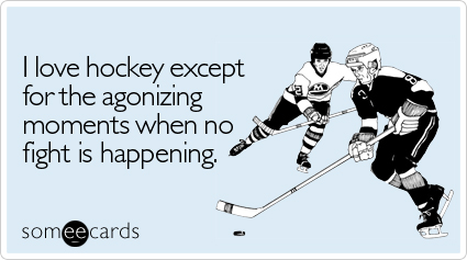 someecards.com - I love hockey except for the agonizing moments when no fight is happening