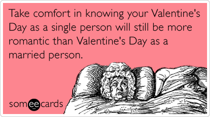someecards.com - Take comfort in knowing your Valentine's Day as a single person will still be more romantic than Valentine's Day as a married person.