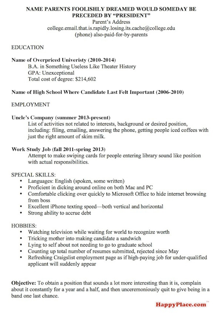 resume template for every recent college grad currently looking for