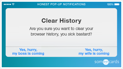 someecards.com - Honest Pop-Up Notifications: Clear browser history porn.