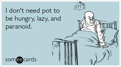 someecards.com - I don't need pot to be hungry, lazy, and paranoid
