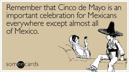someecards.com - Remember that Cinco de Mayo is an important celebration for Mexicans everywhere except almost all of Mexico