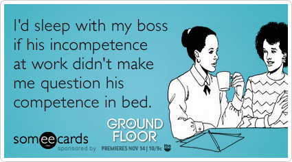 someecards.com - I'd sleep with my boss if his incompetence at work didn't make me question his competence in bed.