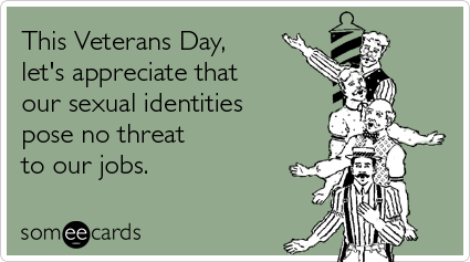 someecards.com - This Veterans Day, let's appreciate that our sexual identities pose no threat to our jobs