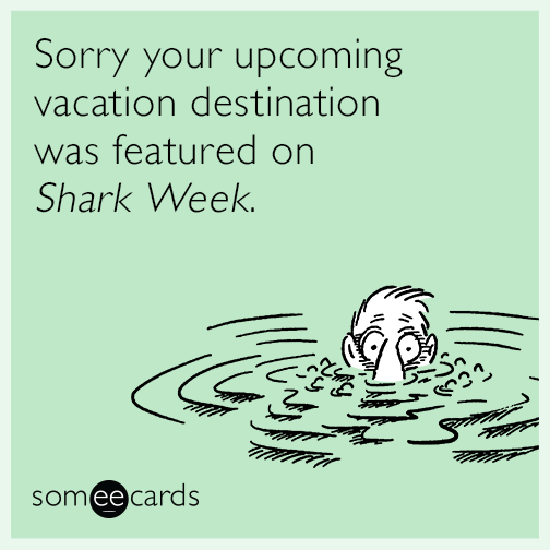Sorry your upcoming vacation destination was featured on Shark Week