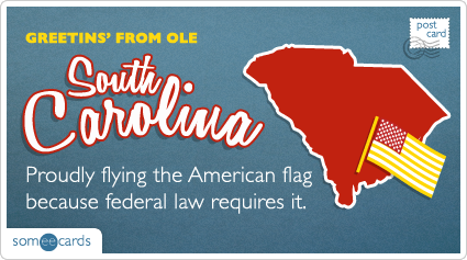 someecards.com - Proudly flying the American flag because federal law requires it.