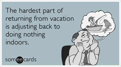 someecards.com - The hardest part of returning from vacation is adjusting back to doing nothing indoors.