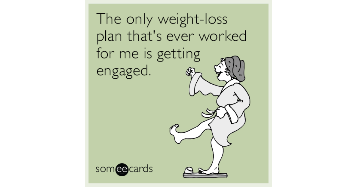 The Only Weight Loss Plan That S Ever Worked For Me Is Getting Ened Weddings Ecard