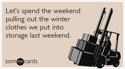 Funny Seasonal Ecard: Let's spend the weekend pulling out the winter clothes we put into storage last weekend.