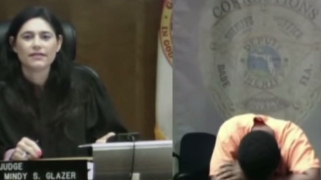 Defendant loses it when he realizes he went to middle school with judge.