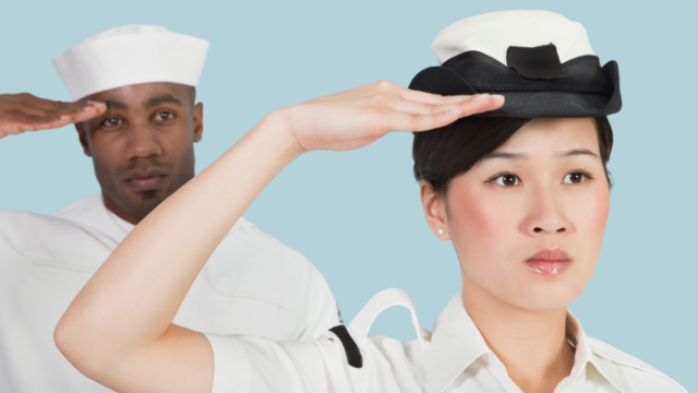 A Navy officer in uniform was turned away from a bar for violating its dress code.