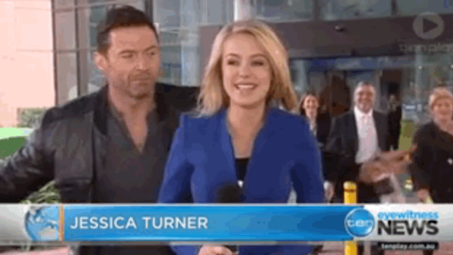 Hugh Jackman videobombed a reporter and he is the only person allowed to do that now.