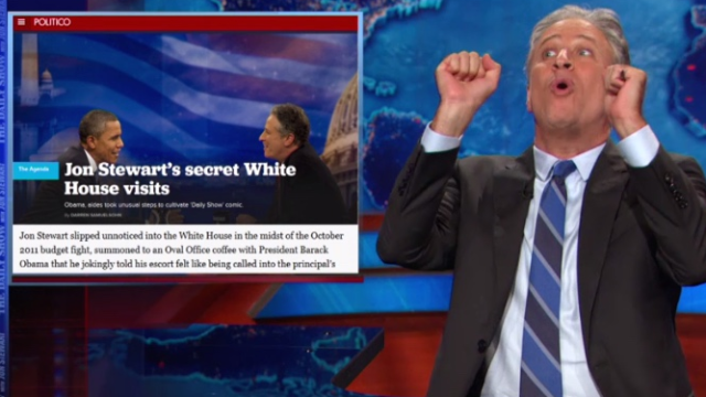 "Jon Stewart addresses the ""secret"" meetings with Obama, and how good the salmon was."