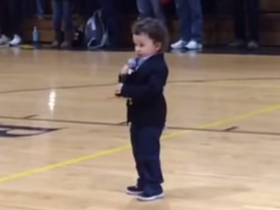 Two-year-old boy forgets words, melody, still sings best national anthem you've ever heard.