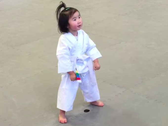 This 3-year-old Taekwondo student will beat you up with her cuteness.