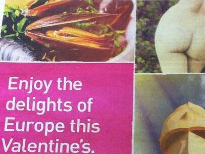 Travel agency wants to send your body to Europe and your mind to the gutter for Valentine's Day.