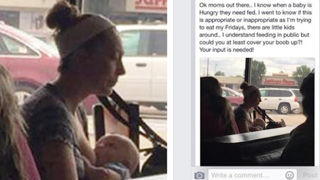 A mom was shamed on Facebook for breastfeeding in public and she's got a lot to say to the guy who did it.