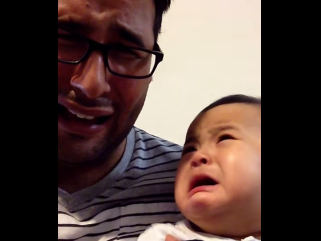 Extremely empathetic baby cries every time his dad pretends to be sad.