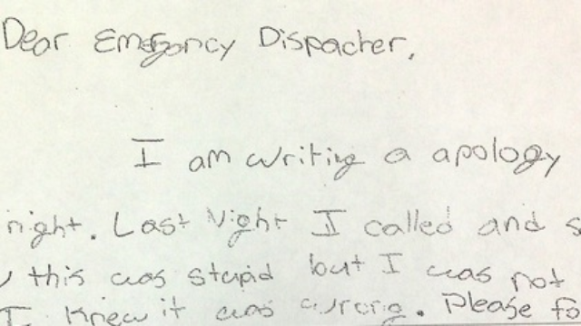 6th grader writes apology note to the police for a serious yet hilarious infraction.