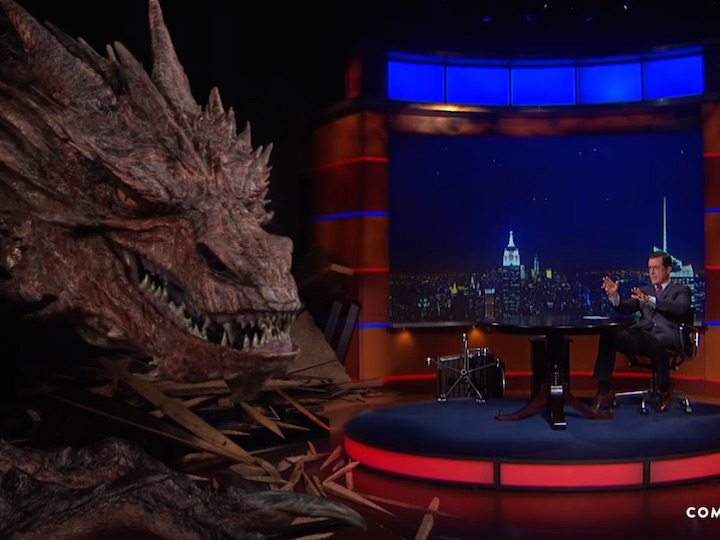 Colbert has a studio-destroying interview with Smaug the dragon from 'The Hobbit.'