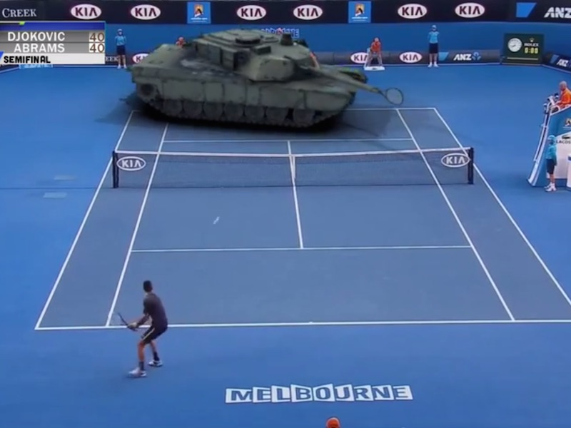 Tennis with a tank, anyone?